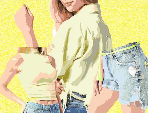 Shorts Denim com camisa amarela