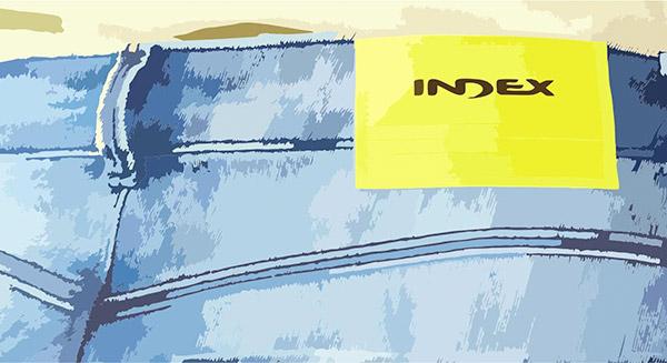 Calça IndexDenim com etiqueta Index